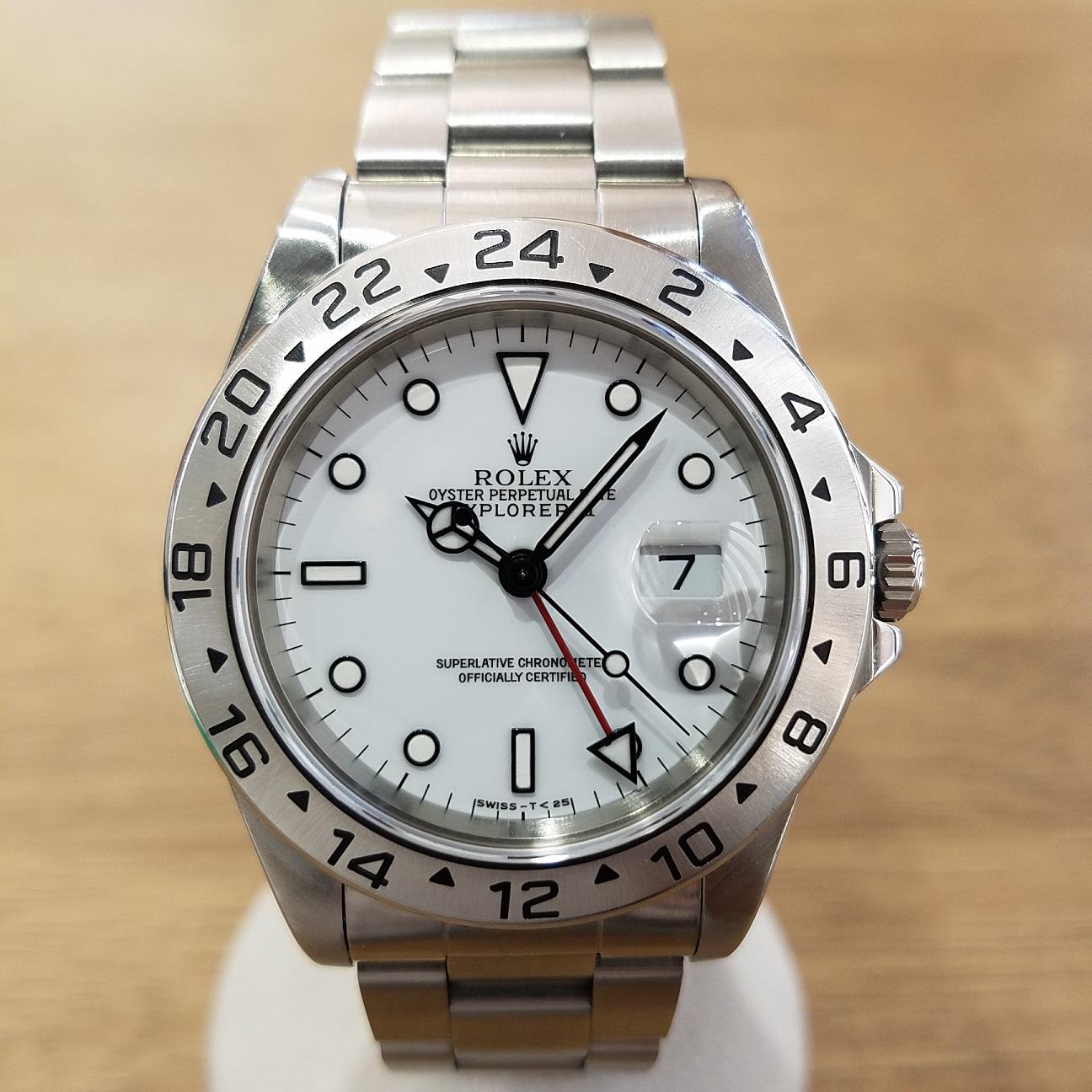 wholesale dealer 0f102 e2e90 ロレックス エクスプローラーII 16570白 シングルバックル オールトリチウム S品番 中古品